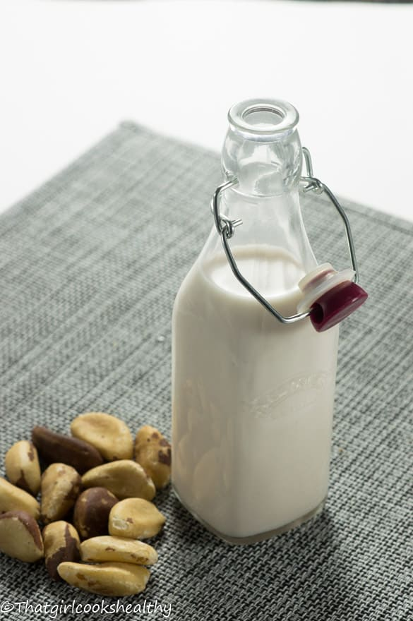 A bottle of Brazil nut milk