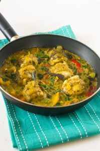 Cinnamon and coconut stew fish curry
