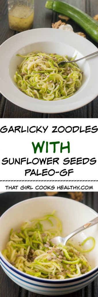 garlic zoodles with sunflower seeds