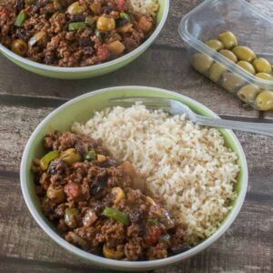 ground beef and rice in a bowl