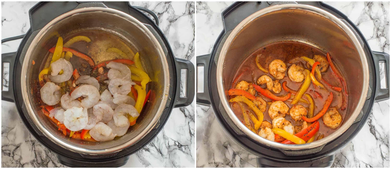 sauteing the shrimp