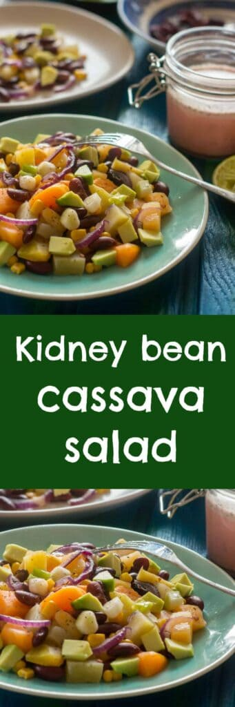 kidney bean cassava salad collage 341x1024 - High protein kidney bean cassava salad