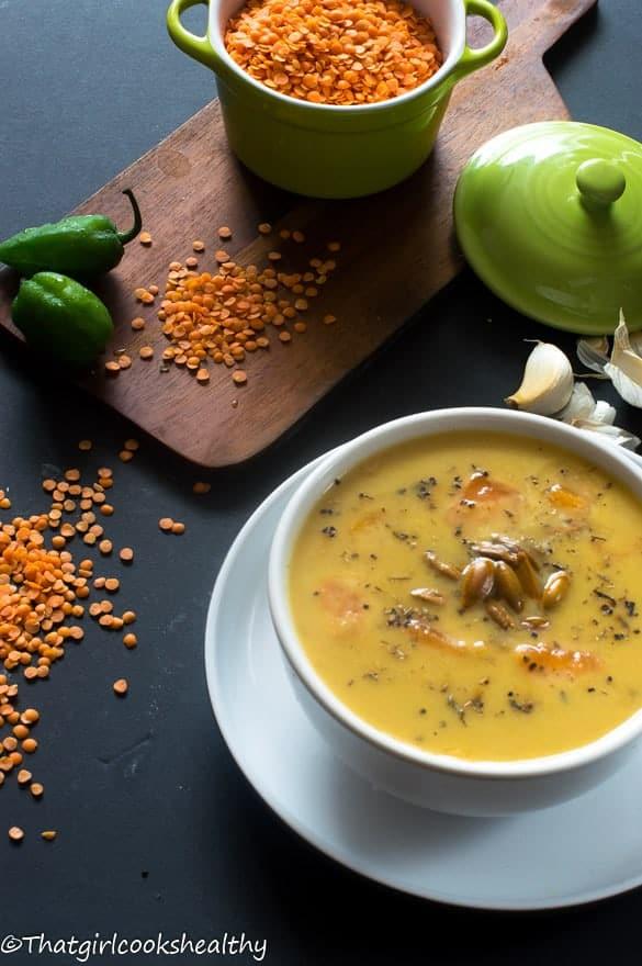 Pumpkin lentil soup 3