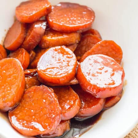 Close up of candied yams