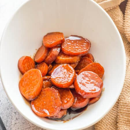 candied yams close up in a bowl
