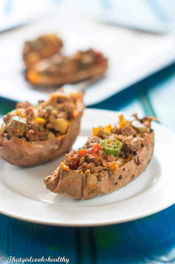 Loaded beef sweet potato skins