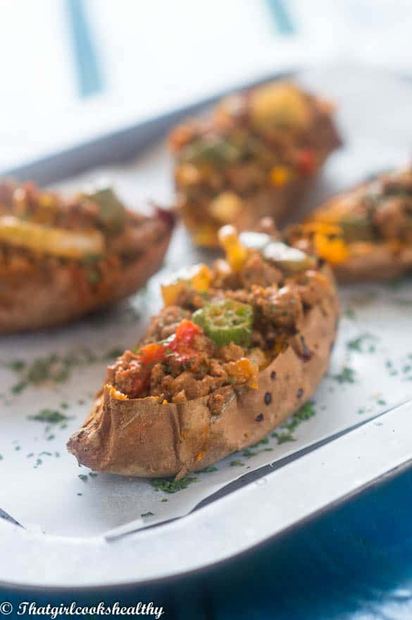 Loaded beef sweet potato skins3