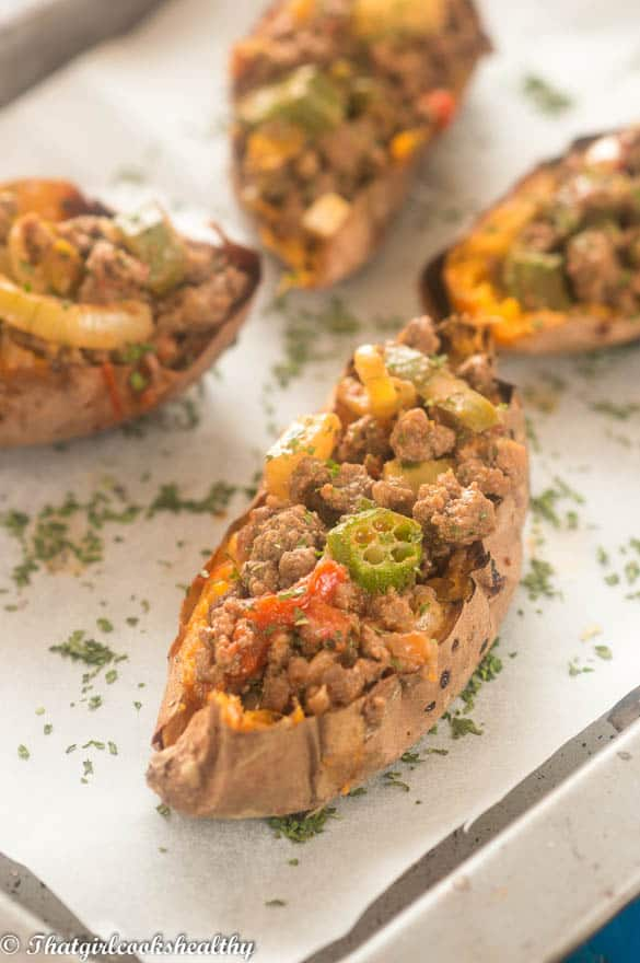 Loaded beef sweet potato skins4