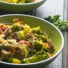 Beef vegetable noodle stir fry