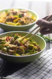 Beef vegetable noodle stir fry (Gluten free)