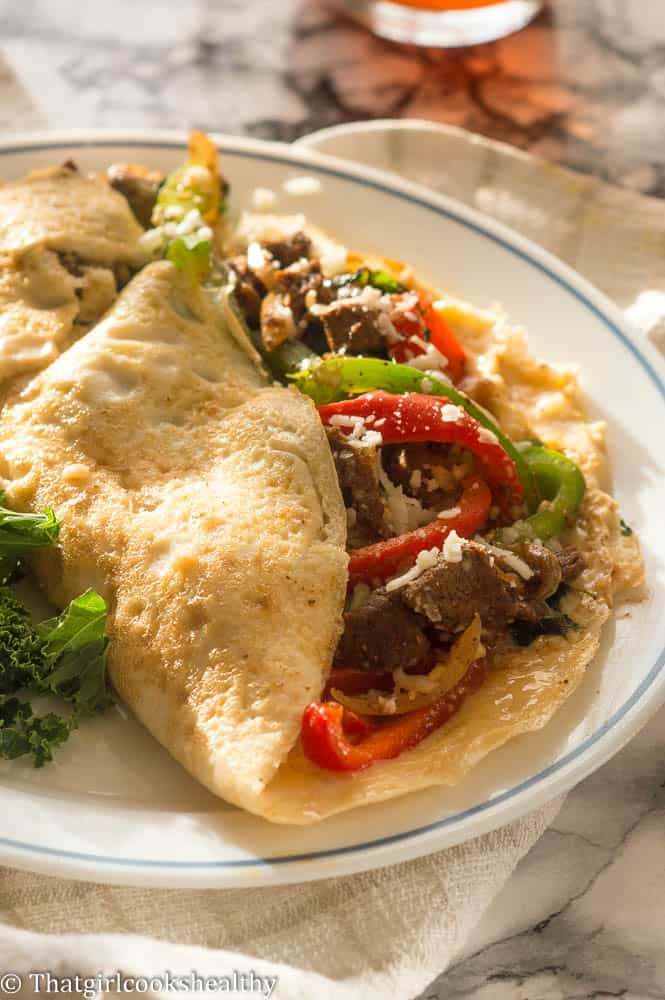 Egg white Philly cheese steak omelette