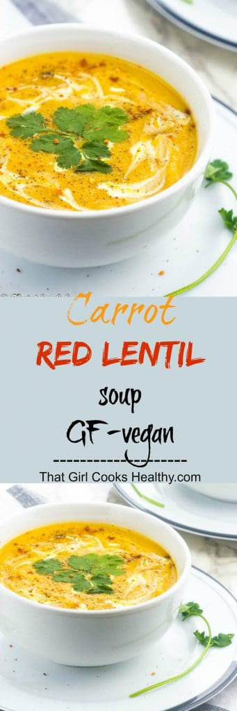 Carrot red lentil soup pin 341x1024 - Carrot and red lentil soup