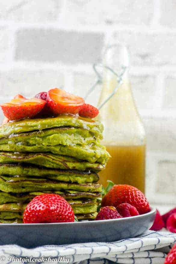 Gluten free spinach pancakes with ginger syrup