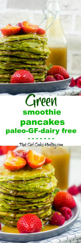 Green smoothie pancakes pin