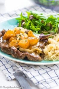 Lamb leg steaks with caramelized onions
