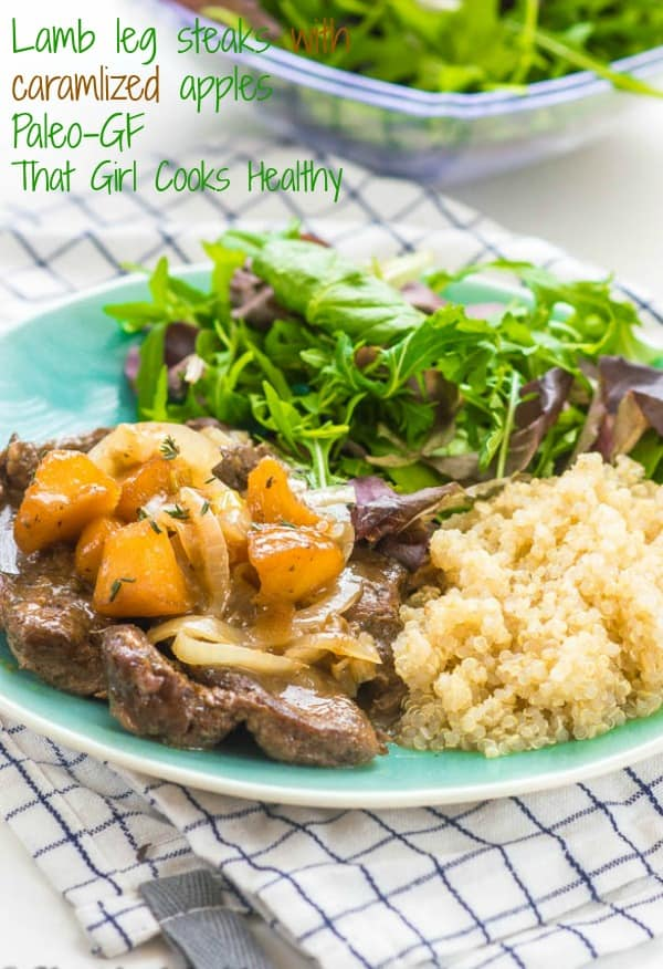 lamb leg steaks with caramelized apples