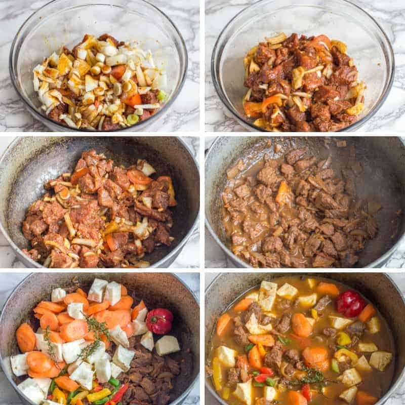 Jamaican beef stew steps