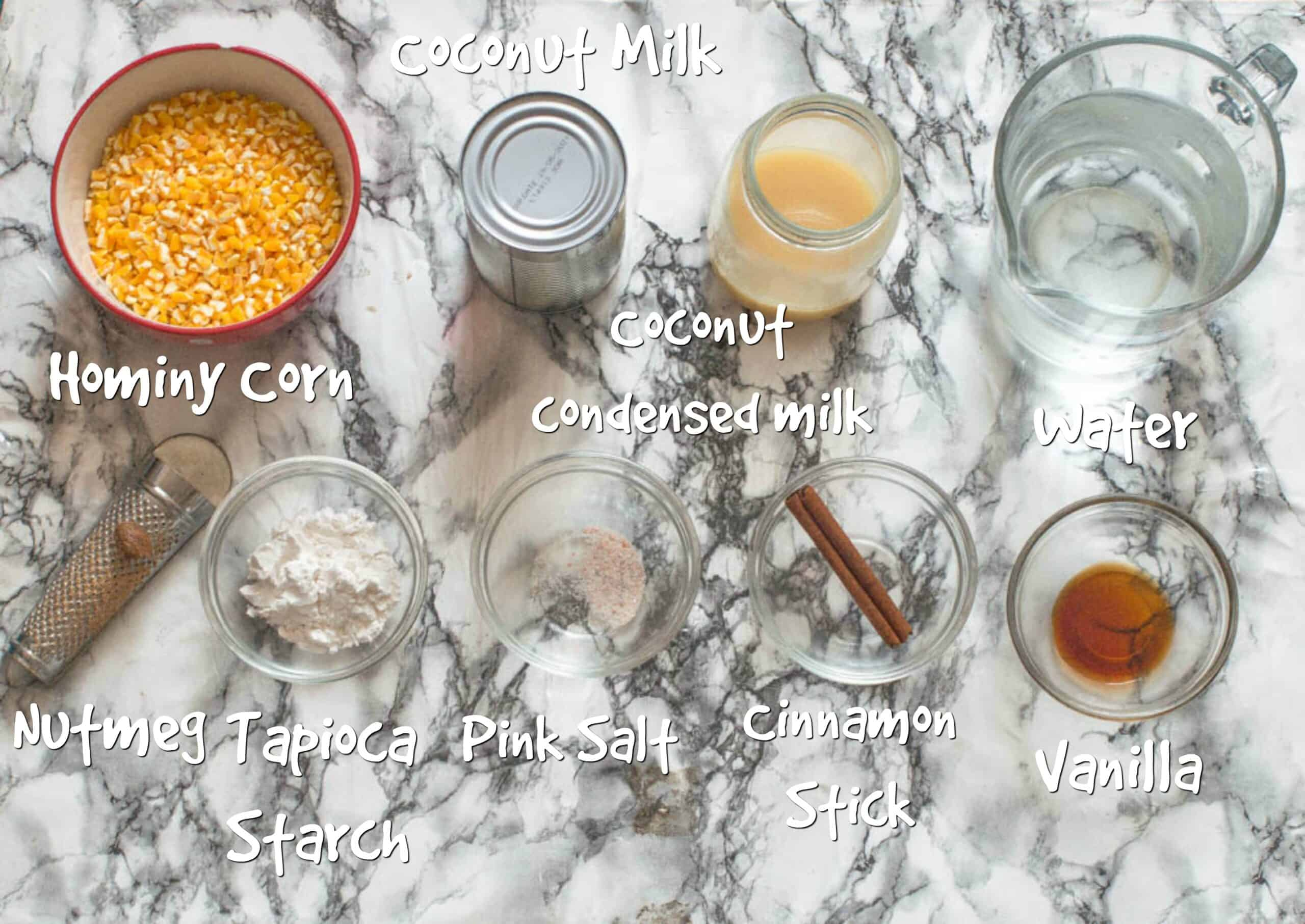Ingredients for hominy corn porridge