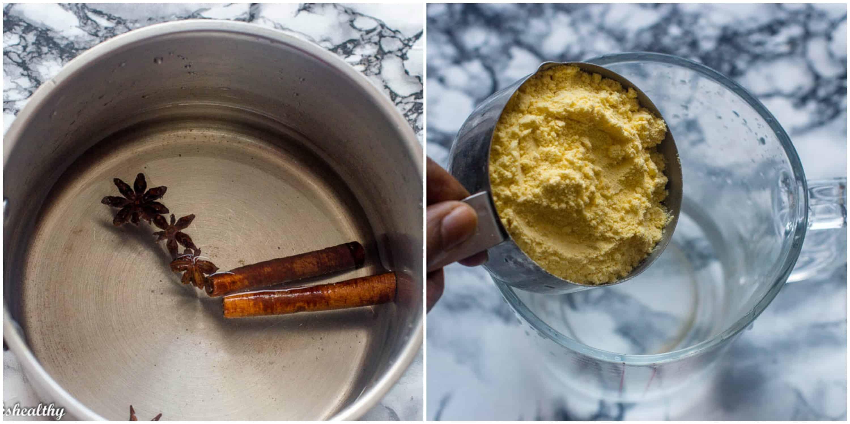 Akasan (Haitian cornmeal drink) steps 1-2