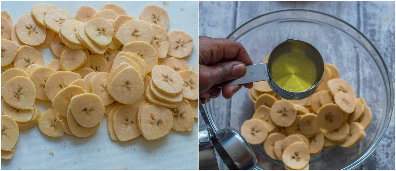 baked plantain chips steps 3 4 - Baked plantain chips (gluten free, vegan, paleo)