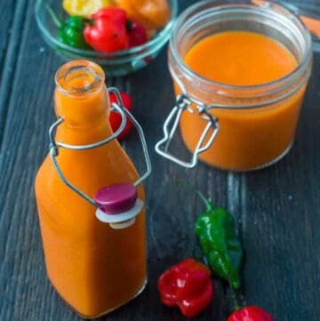 scotch bonnet pepper sauce overhead shot