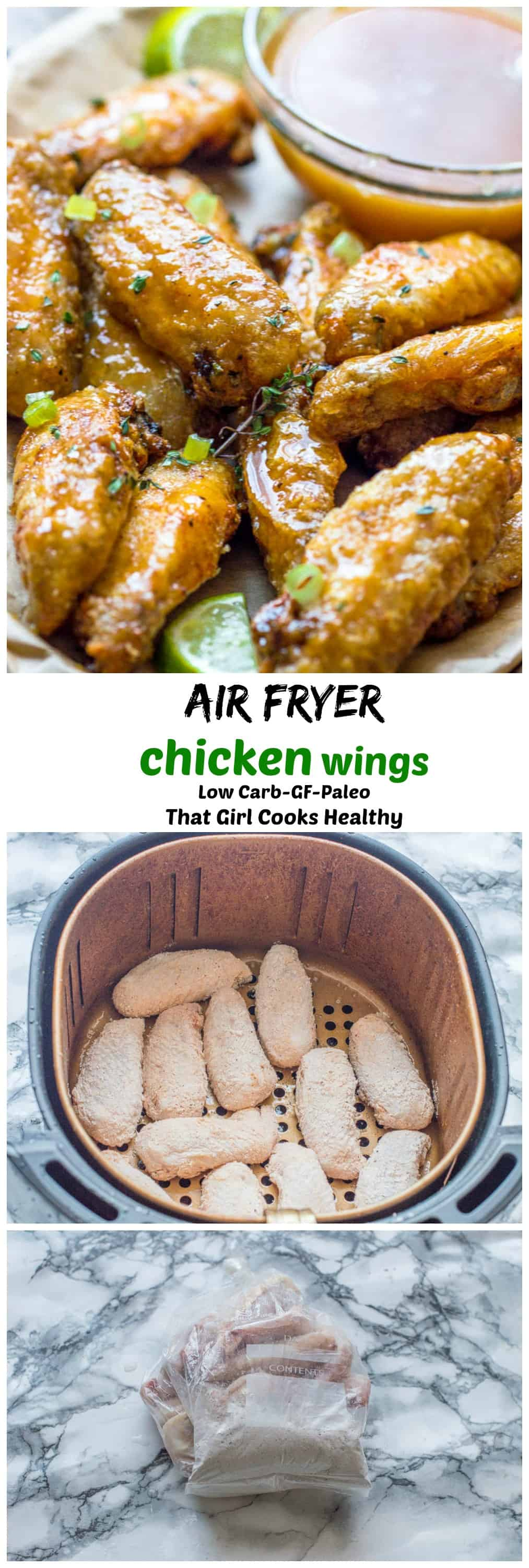 Crispy air fryer chicken wings, these low carb, paleo friendly wings are coated with a sweet pineapple glaze