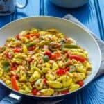 A skillet of Ackee and Saltfish