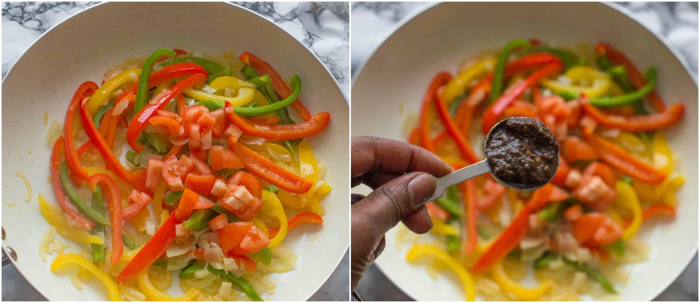 vegan rasta pasta dish steps 5-6