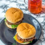 Tasty air fryer hamburgers over head shot