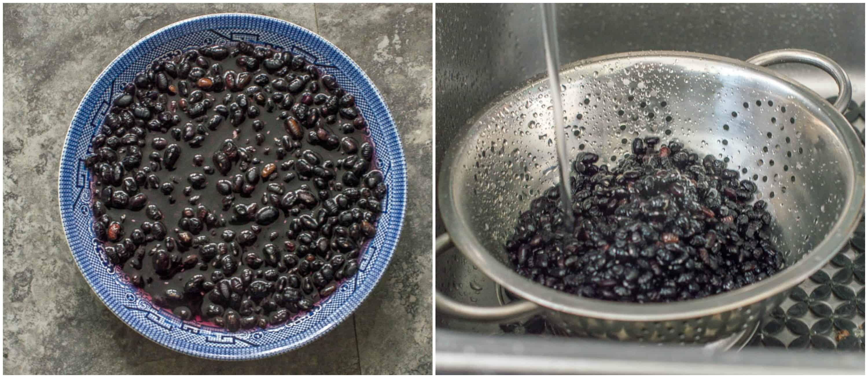 slow cooker black beans steps 1-2 soak and washing beans