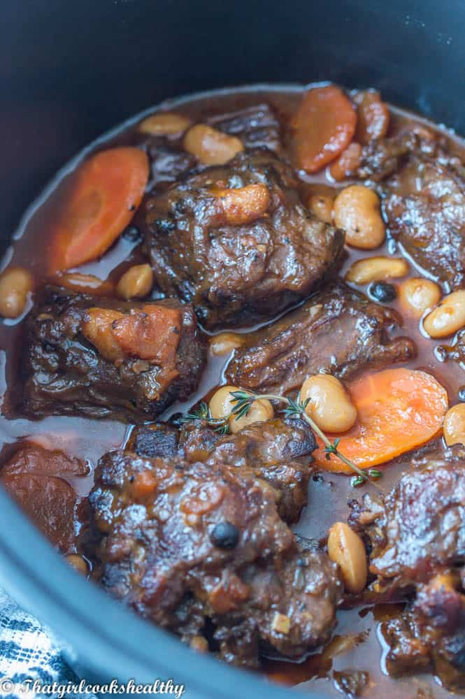 Jamaican oxtail stew close up shot