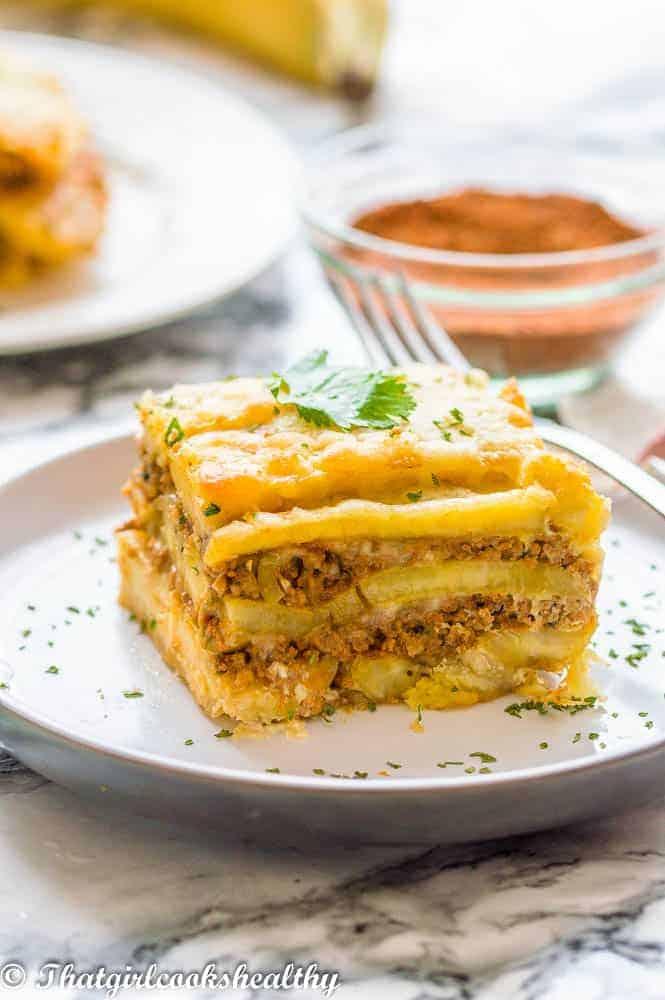 Delicious Puerto Rican sweet lasagna called Pastelon