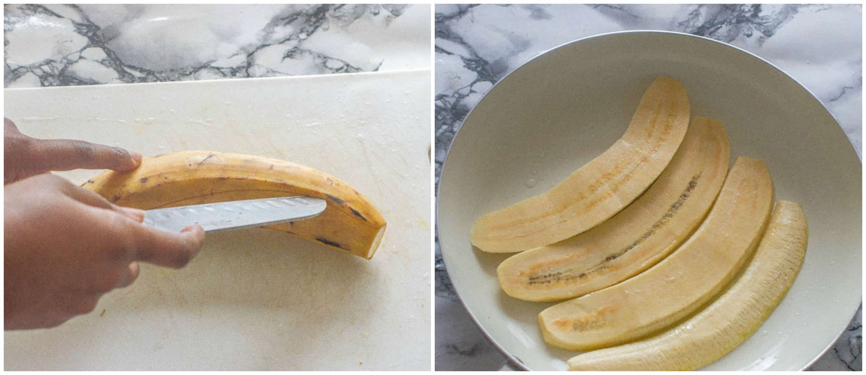slicing the plantain