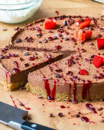 A single slice of cheesecake