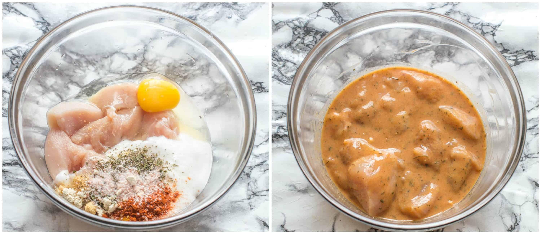 Air fryer chicken nuggets steps 1-2