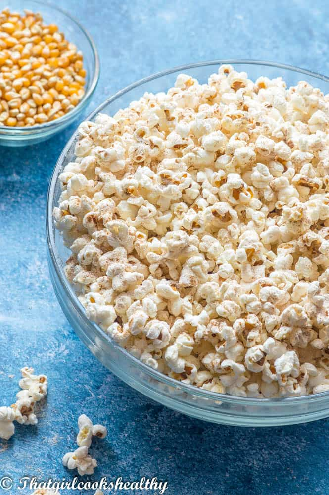 Instant pot popcorn close of half a bowl