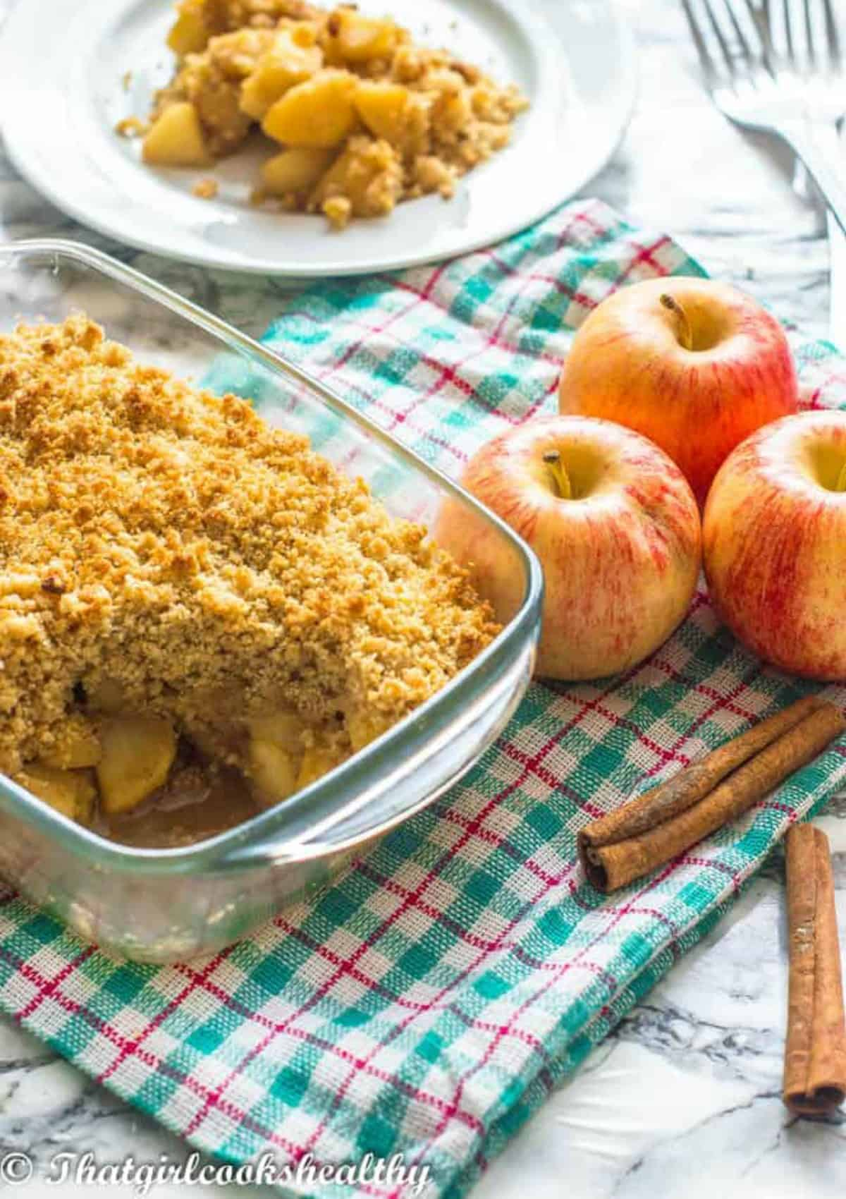 portion of crumble on a side dish