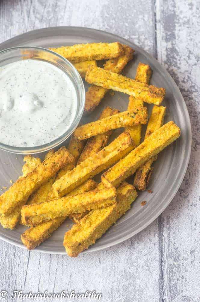 Air fryer zucchini fries overhead shot