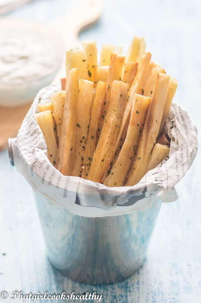 Yucca fries placed in a chip holder