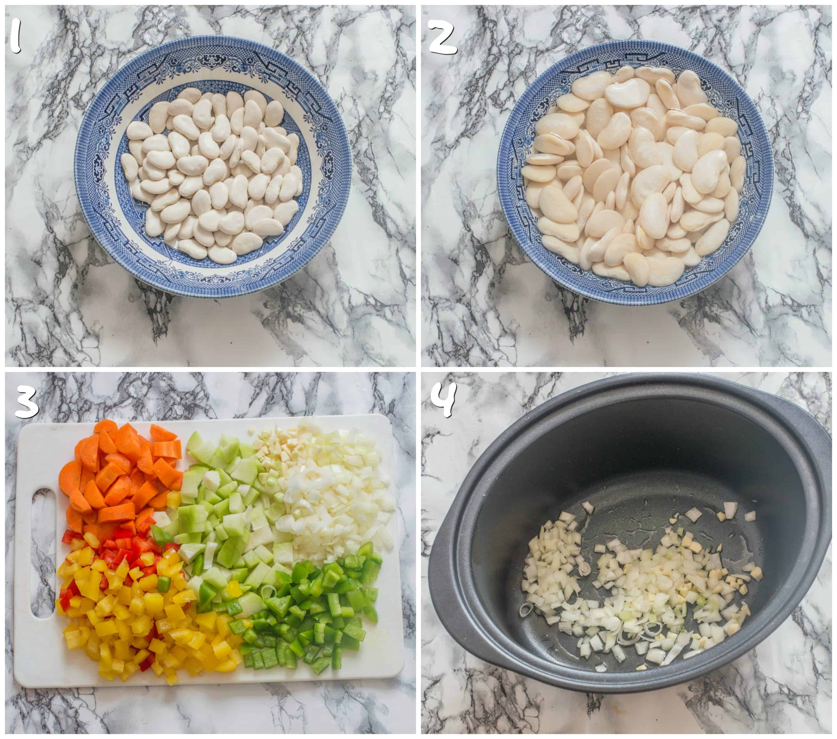 steps 1-4 Soak butter beans and sauteing the vegetables