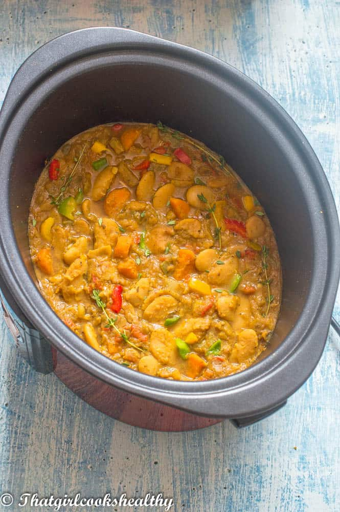 Deliciously slow cooked Caribbean curried butter beans