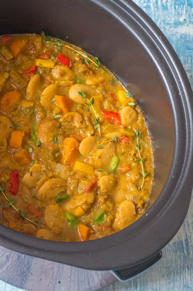 Close up of Caribbean curried butter beans