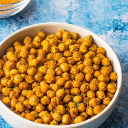Curried air fryer chickpeas in a bowl