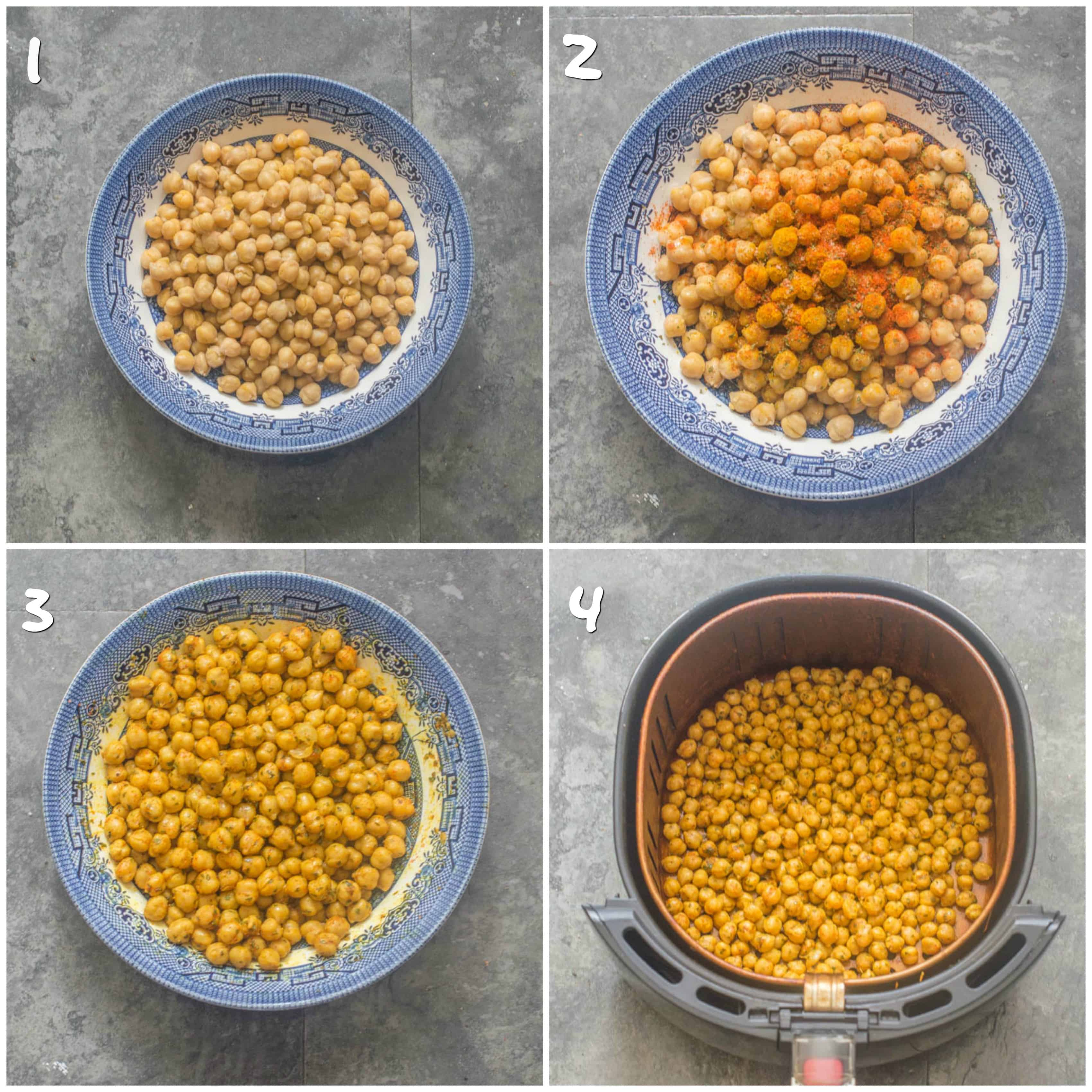 Curried air fryer chickpeas steps 1-4