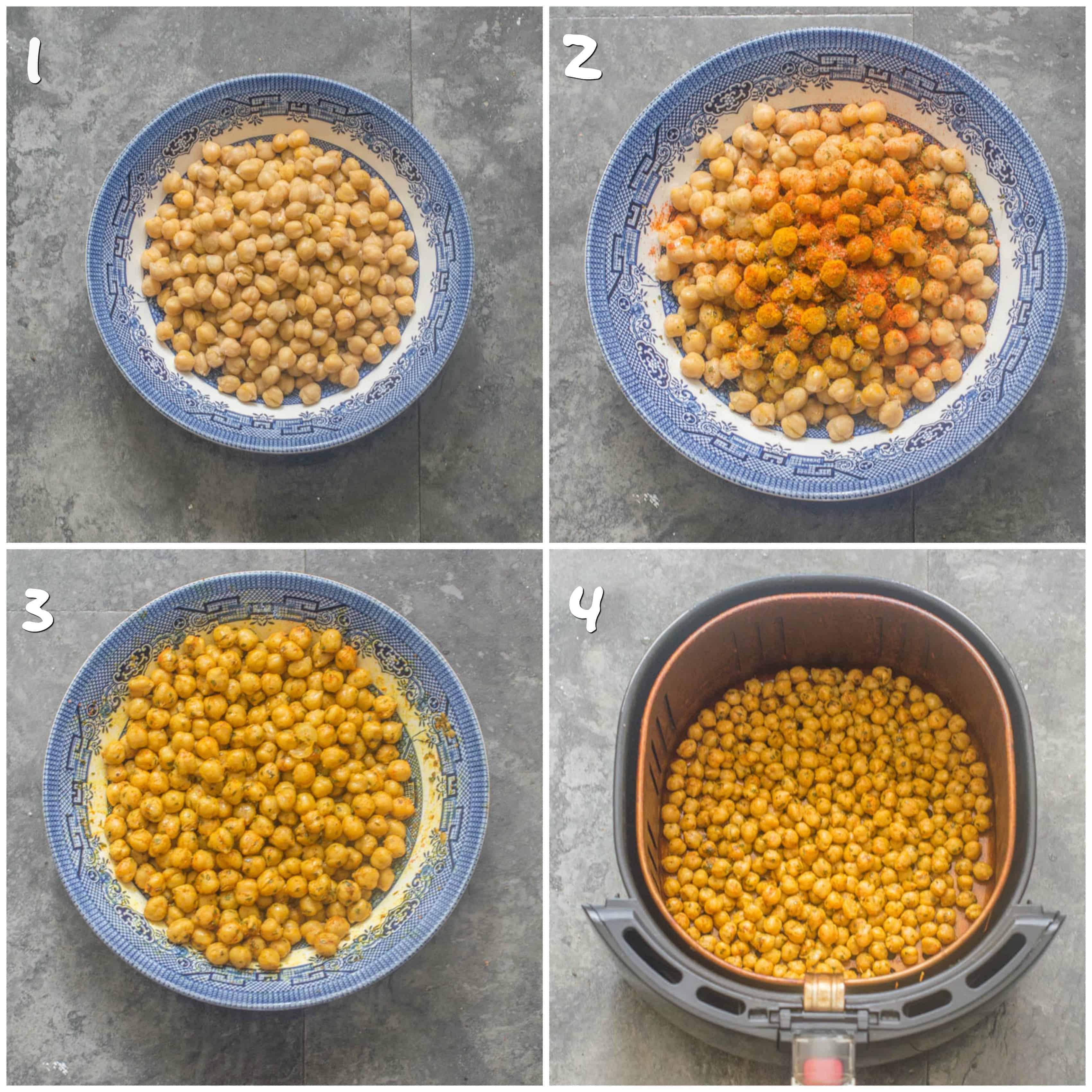 Curried air fryer chickpeas steps 1-4