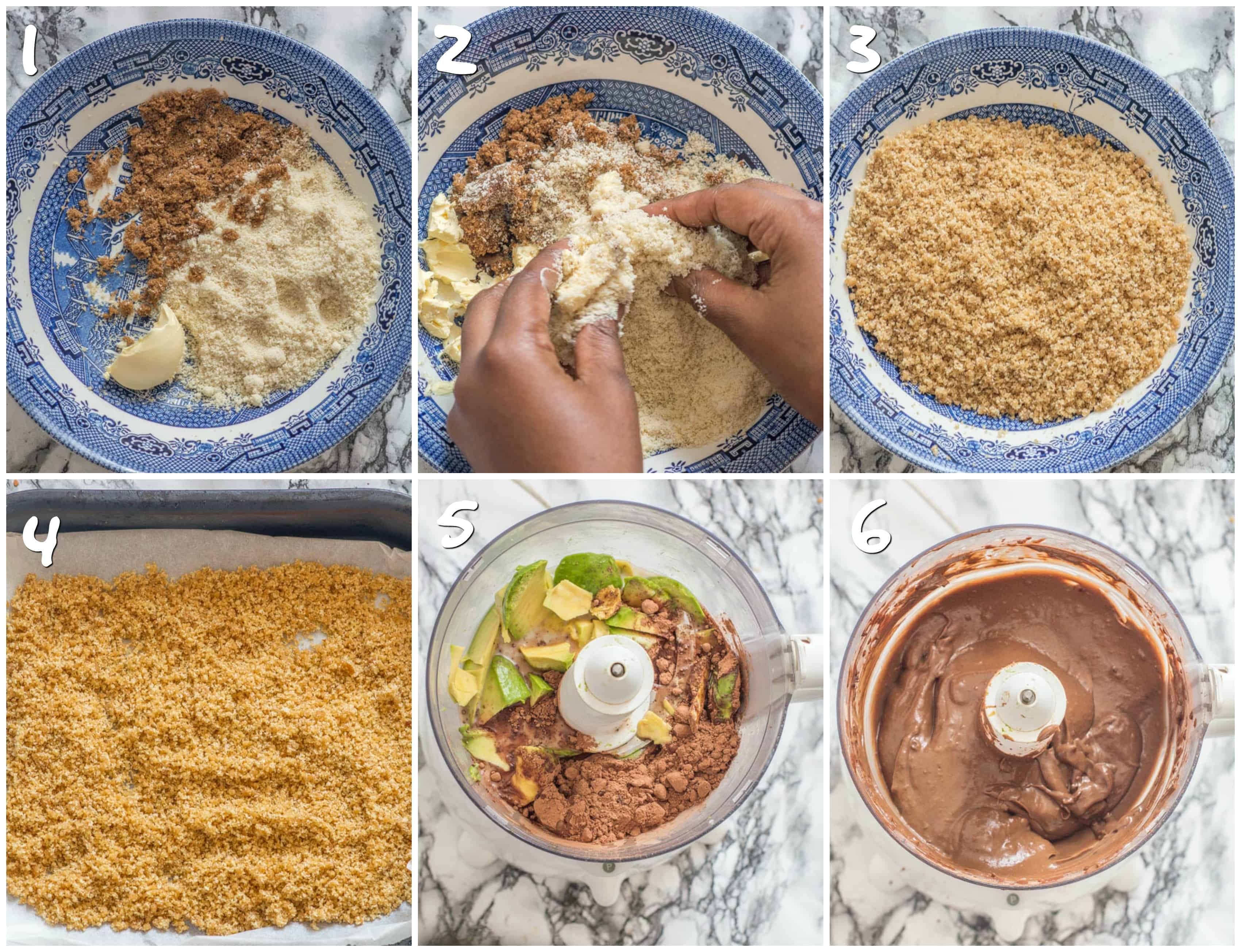 Steps 1-6 making the pudding and crumble mix
