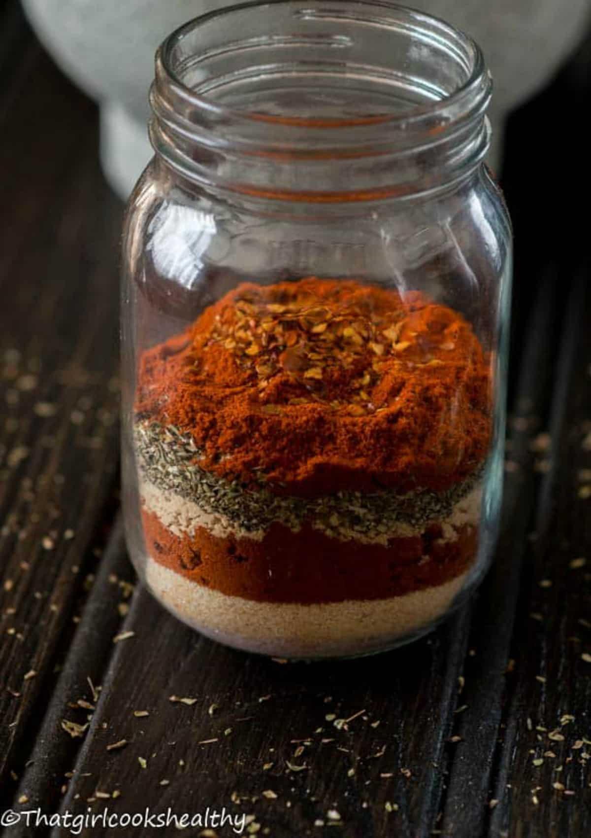 Half a spice blend in the jar