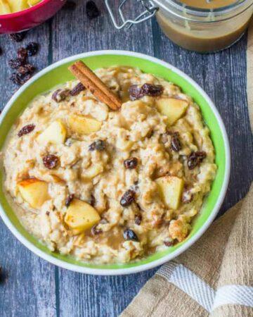 oatmeal in green bowl