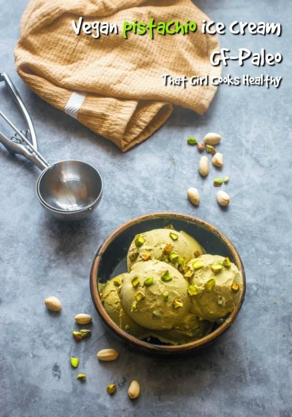 Homemade vegan pistachio ice cream, so creamy and delicious
