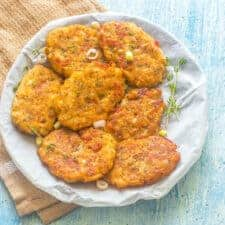 Fritters on a brown kitchen towel